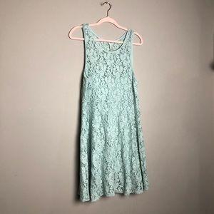 Free People light blue miles of lace tank dress